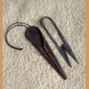 Forged scissors, large with leather sheath