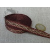 Silk  tablet woven band. Brown with red